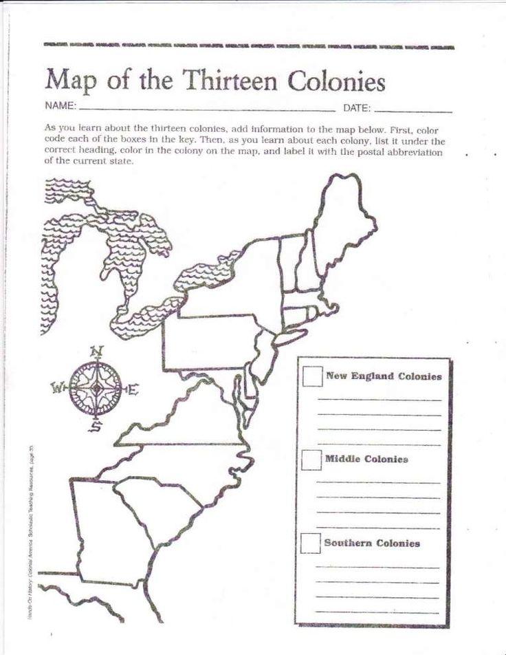 8+ 13 Colonies Worksheet 8Th Grade   13 colonies map, 13 ...