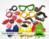 Set of 20 Piece Plastic Photo Booth Party Props - Mustaches and lips on sticks - Wedding, party photobooth props - Christmas in July sale