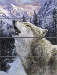Grey Wolf and Rocky Mountains reproduced onto ceramic tiles for a cabin or lodge wall mural idea