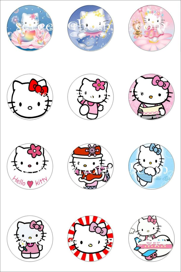 Hello kitty printable printables pinterest cupcake for Hello kitty cupcake topper template