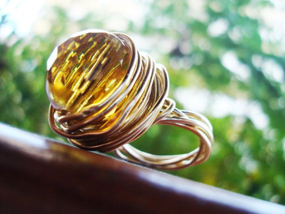More Crystal --> Gold Wire Ring with Citrine color Czech Crystal by @ArtGaloreShop http://etsy.me/1ozG5SE  via @Etsy