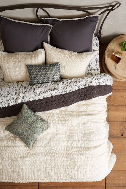 Stitched Kantha Coverlet - anthropologie.com @anthropologie does neutrals right