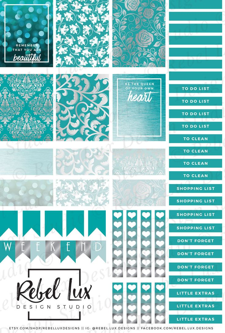 Printable teal & silver damask sticker sheet with Silhouette cut file. #silhouetteamerica #silhouettecameo #stickers #printables #printablestickers #plannerstickers #plannerlove #plannercommunity