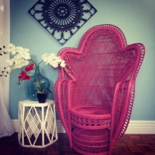 Love #pink#wicker#chair#colour#beautiful - @Tamara Bergan