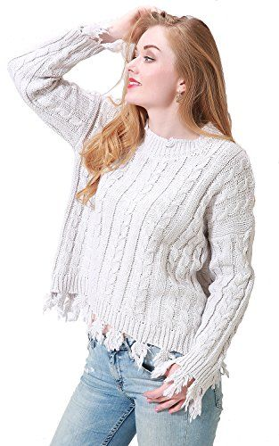2be63a5918 Simplee Apparel Women s Long Sleeve Tassel Cable Knit Casual Loose Jumper  Pullover Sweater Top
