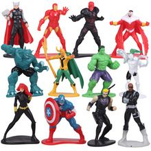 12pcs/lot 5cm Avengers SuperHeroes PVC Action Figures Marvel Super Heroes Hulk Thor Anime Figure Figurines Kids Toys for Boys