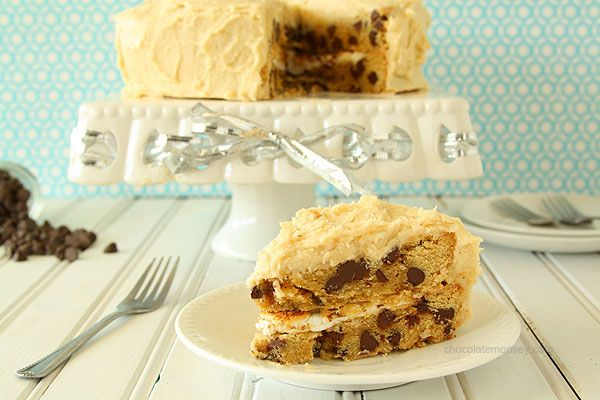 Chocolate Chip Cookie Cake with Toasted Marshmallow Filling and Cookie Dough Frosting | www.chocolatemoosey.com