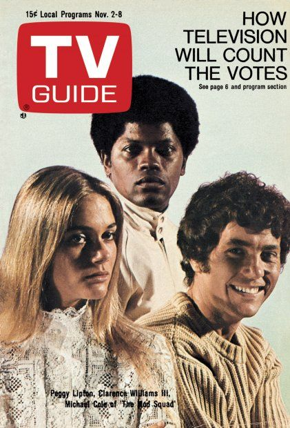 "TV Guide: November 2, 1968 - Peggy Lipton, Clarence Willaims III and Michael Cole of ""The Mod Squad"""