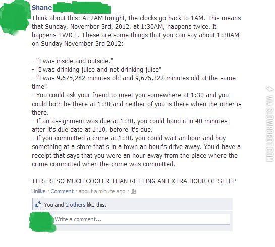 The joys of daylight savings time.