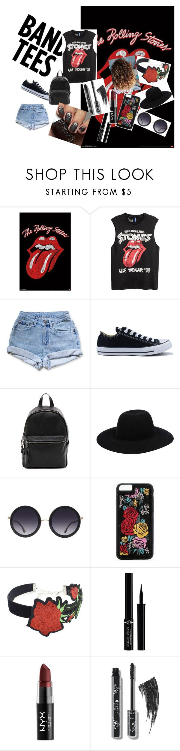 """""""Rolling Stones Band tees"""" by bambi-sinclair on Polyvore featuring Levi's, Converse, French Connection, Off-White, Alice + Olivia, Boohoo, WithChic, Giorgio Armani and NYX"""