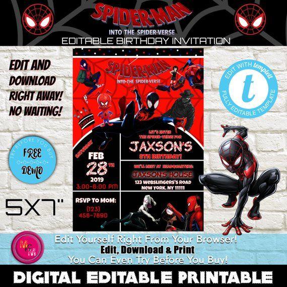 Editable Into The Spider Verse Invitation Printable Spider Man Invitation Spider Man Party Miles Morales Inv Spiderman Birthday Spiderman Party Spider Verse
