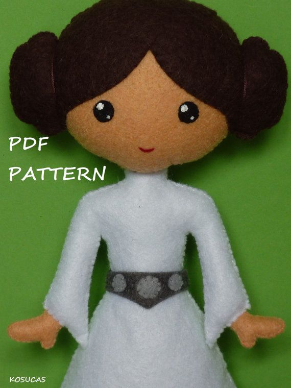 PDF sewing pattern to make a felt Dark Vader 7.4 inches tall (19 cm) and a felt Princess Leia 7.1 inches tall (18 cm). Includes tutorial with pictures and step by step explanation. For hand sewing. They are not a finished dolls. Difficulty: medium Instructions in Spanish-English. Things to do with this pattern can be sold in your own shop. Mass production, re-sale and distribution of pattern pieces and instructions is Expressly prohibited. Dolls made from this pattern are not suitable for…
