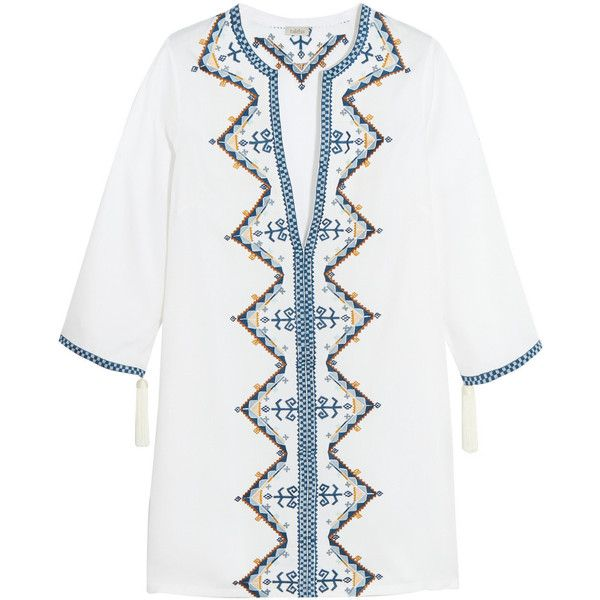 Talitha Aztec embroidered cotton mini dress (921.885 COP) ❤ liked on Polyvore featuring dresses, white, white cotton dress, cotton mini dress, long-sleeve mini dress, petite dresses and short white dresses