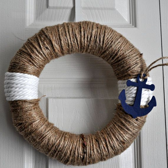 Anchors Away Twine Rope Wreath by HelloSunshineHomeDec on Etsy, $25.00