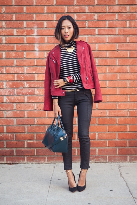 colored leather jacket