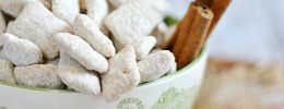 (White Chocolate Muddy Buddies - image) Link takes you to cherry cheesecake fluff....