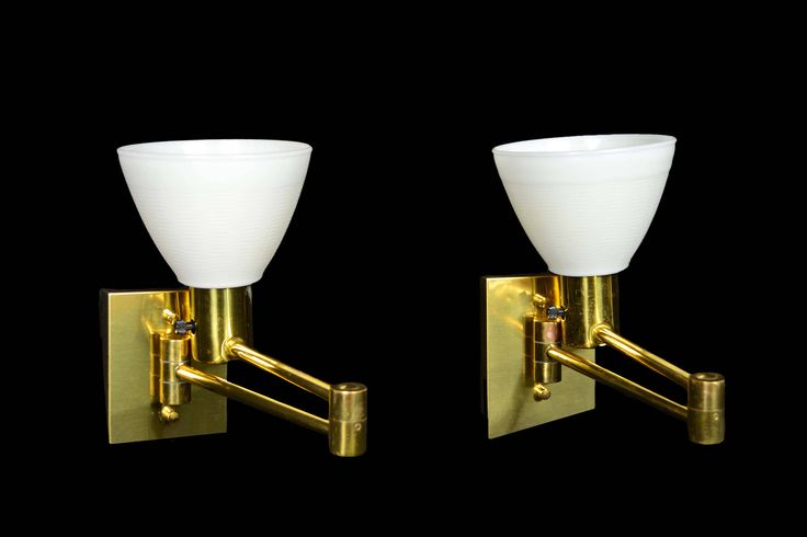 Pair Scandinavian Modern Brass Swing Arm Wall Sconces Reading Lights Made in Sweden by OffCenterModern on Etsy