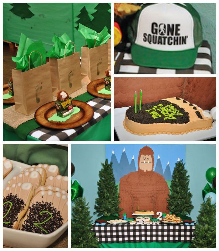 Bigfoot themed birthday party with Such Fun Ideas via Kara's Party Ideas | Cake, decor, cupcakes, favors, games, and MORE! KarasPartyIdeas.com #bigfoot #sasquatch #bigfootparty #partydecor #partyideas #partyplanner #eventplanner (2)
