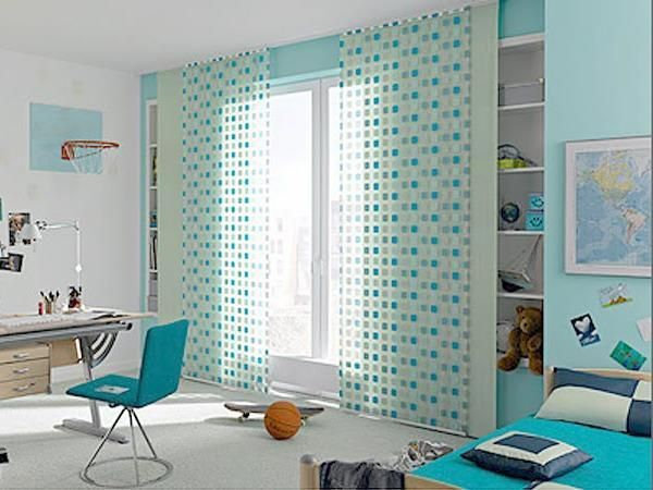 modern window curtains in white and blue colors