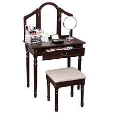 Vanity Set with Stool and Drawer, 3 Mirrors  (Brown)  Are you looking for a unique but practical dressing table? Then try this vanity set with stool is a marvelous product. Made of high-quality wood, this practical dressing table is rather stable and durable. You will be attracted by its delicate craft and lovely appearance.