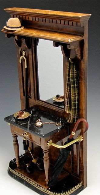 Dollhouse Executive's Hall Tree - Accessories are a bit too modern, but this would be great for an entry hall