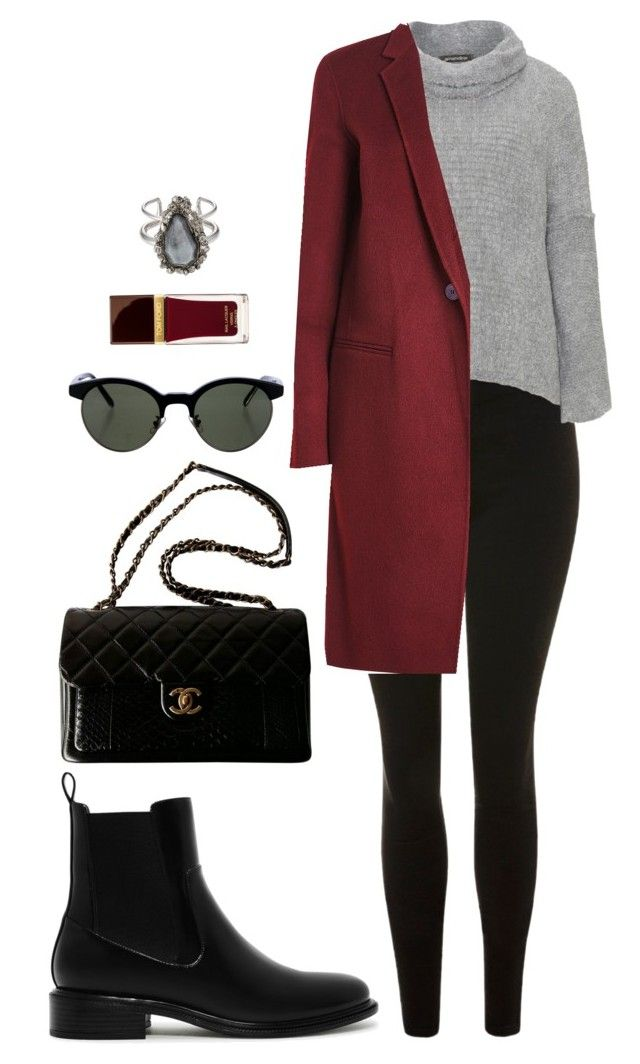 Street style by dalma-m on Polyvore featuring polyvore fashion style Amandine Theory Topshop CHARLES & KEITH Chanel Alexander McQueen Oliver Peoples Tom Ford clothing