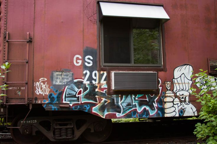 The graffiti on Renovated Box Cars at Northern Rail Railcar Suites in Two Harbors, MN