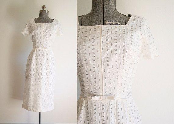 1960s White Eyelet Lace Cocktail Dress / by wanderlustmobileshop