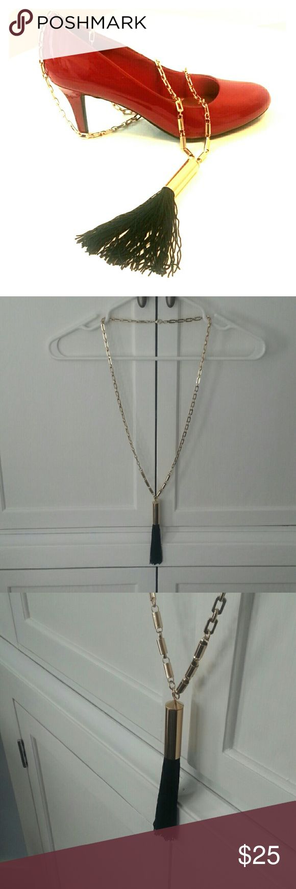 """Black Tassel Neclace Heavy weight Gold tone chain that measures 18-19""""  as seen in pic 1. The tassel is just under 6"""". It's a real nice piece of jewelry. Definitely makes a statement!  **Black Lilly Pulitzer dress for sale in closet! Mall at Short Hills Jewelry Necklaces"""