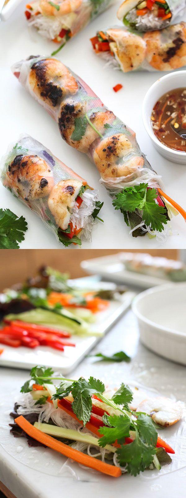 Grilled Shrimp Vietnamese Spring Rolls | foodiecrush.com