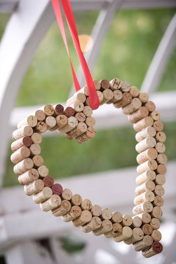 A DIY heart made from wine corks. Desmond Charles Photography.