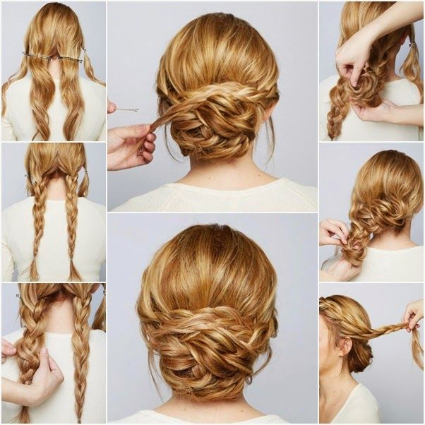 Awesome Hair Style: learn how to do simple French braid bun updo hairstyles for medium length hair or long hair. Description from…