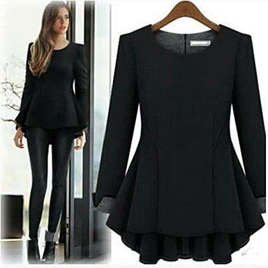 vrouwen ronde hals mini jurk, wol combineert rood / zwart ongedwongen / grote maten - EUR € 18.61