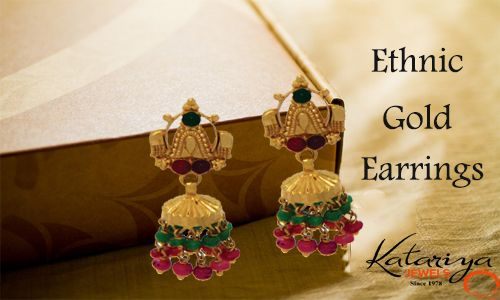 Gorgeous Gold Ear Ring in Dual Colour  Buy Now :http://buff.ly/1ISe74n COD Option Available with Free Shipping in India