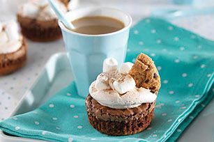 Hot Chocolate-Brownie Cupcakes recipe. It doesn't have to be winter to enjoy the delicious heart warming taste of hot chocolate.