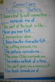 Sentence starters for making #text-to-self connections after #reading
