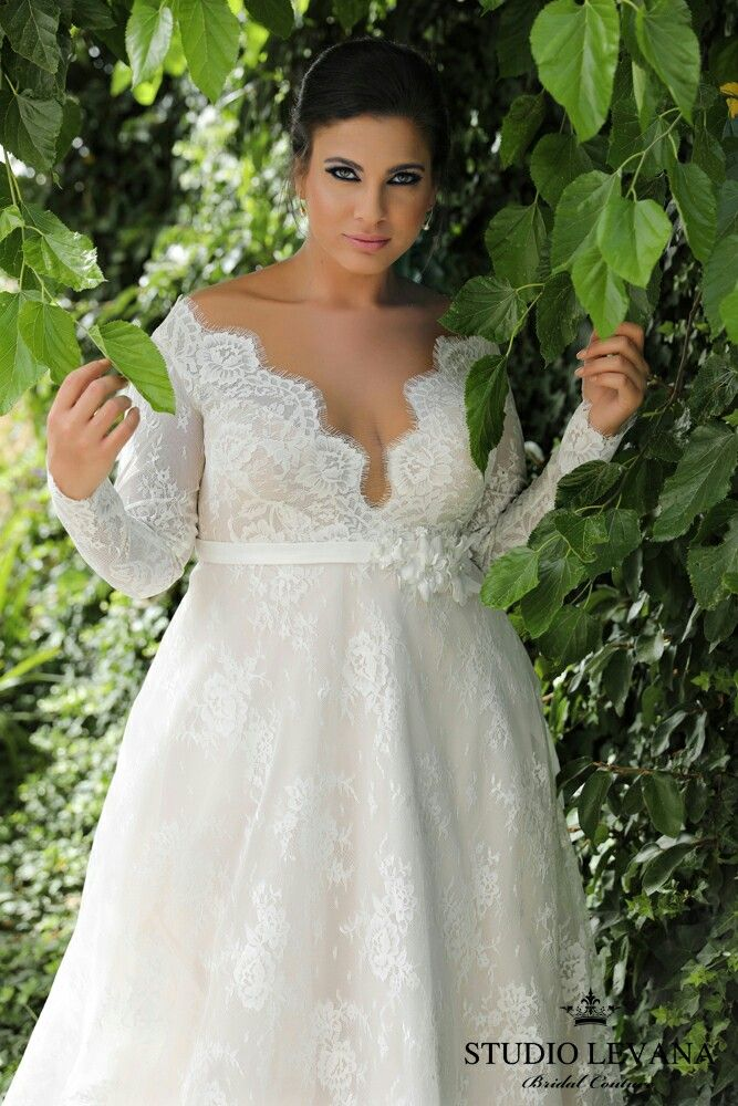 French lace, long sleeves, V neck, flattering classy style.Plus size wedding gown Sophia