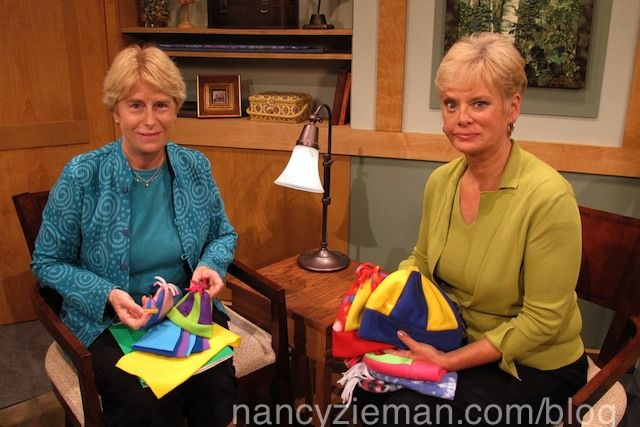 Sewing+With+Nancy+host+Nancy+Zieman+and+guest+Nancy+Daly+show+how+to+make+fleece+hats+for+kids.