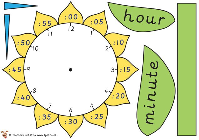 Teacher's Pet - Flower Time Telling (mini) - FREE Classroom Display Resource - EYFS, KS1, KS2, clock, time telling, analogue, digital, hour,...