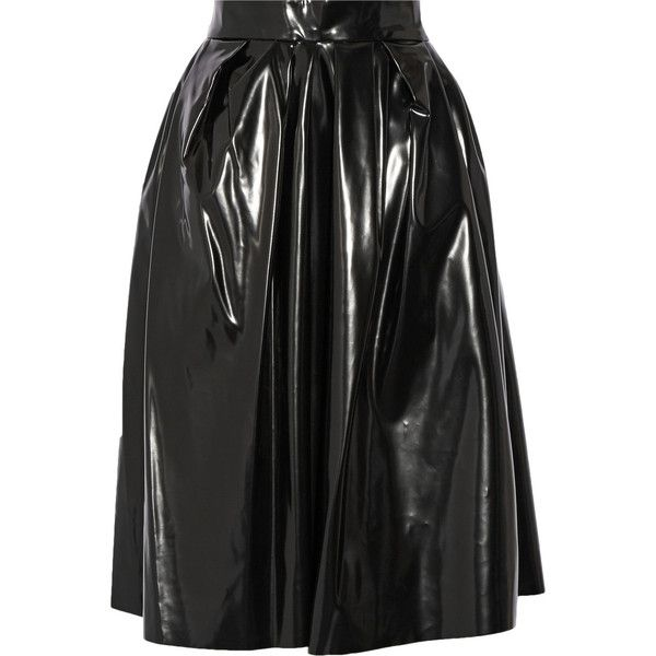 Marc Jacobs Vinyl skirt (55,265 PHP) ❤ liked on Polyvore featuring skirts, black, vinyl skirt, mid calf skirts, midi skirt, wet look skirt and party skirts