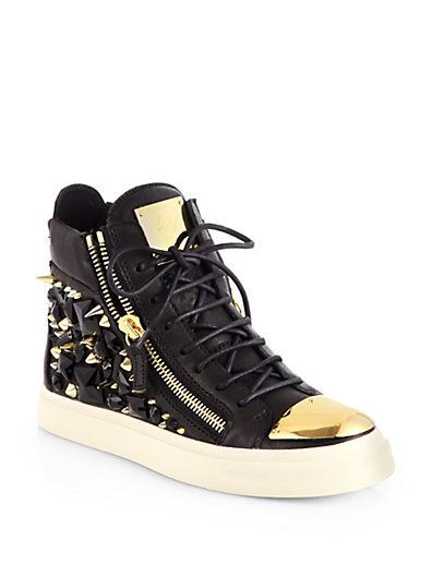 Gem Studded Leather High Top Sneakers by Giuseppe Zanotti
