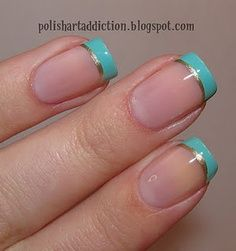 aqua and gold nails - Google Search