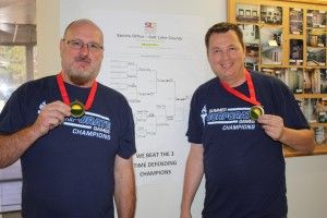Jorgenson Industrial Companies' Division 10 Project Manager Mike Dark & SchoolLockers.com's David Cook TAKE GOLD! #corporategames #billiards #goldmedalists