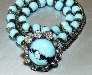 ENDS TOMORROW! Relisted due to non-paying bidder. :( Signed Miriam Haskell Hand Wired Turquoise Aqua Glass Rhinestone Bracelet Rare
