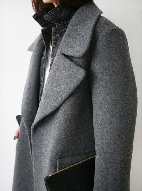 Grey trench.
