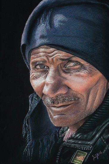 S 'Gucci man' by Lisa Peters Esvelt. Gucci man, a portrait of an arab man. A face with a past. 16.5*11.8 inch