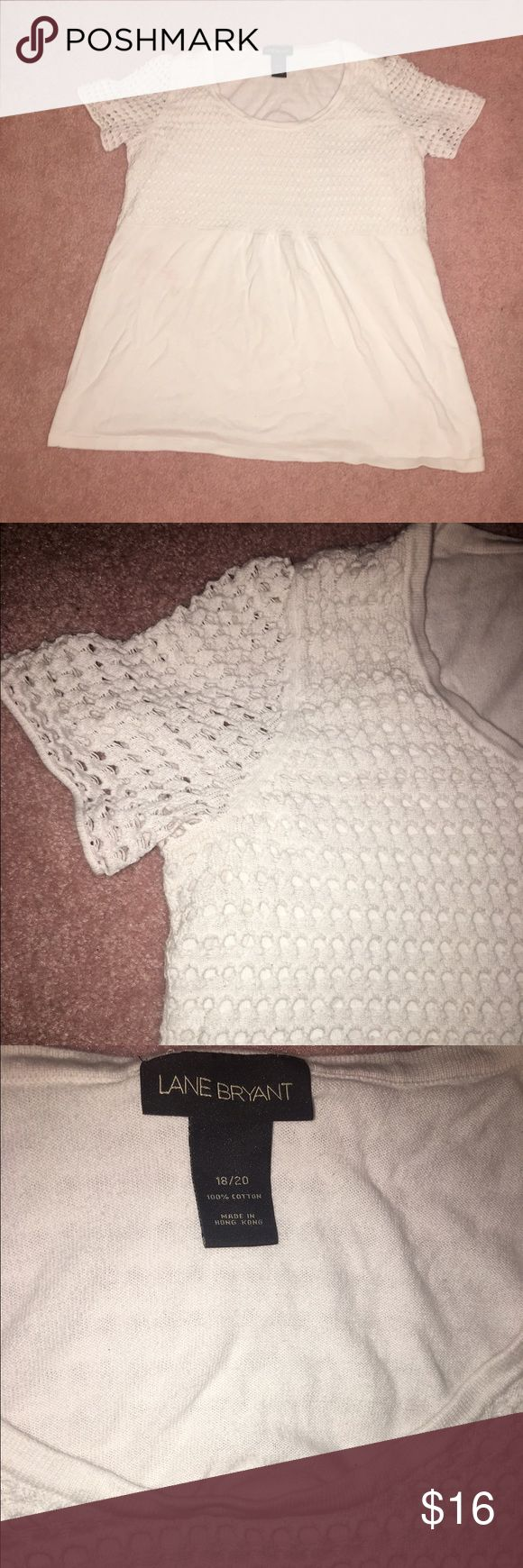 Lane Bryant White Babydoll Top Very cute eyelet pattern on top and sold white on bottom. Sz 18/20 but fits small. Lane Bryant Tops