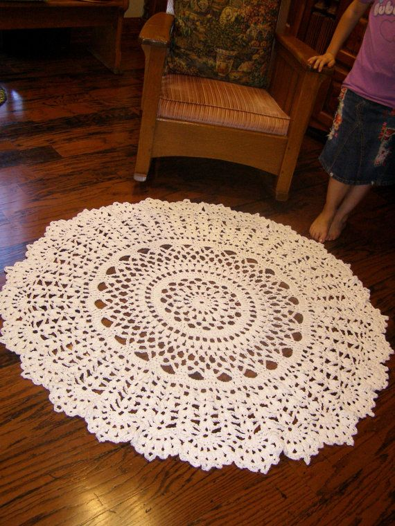 Giant 60 inch Crochet Rug White Cotton Doily Rug by LaceNWhimsy, $125.00