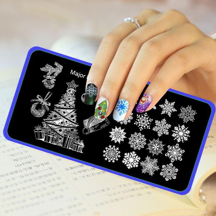 Nail Art Template DIY Pohon Natal Salju Hadiah Bola Topi Pola Kuku Dekorasi Kuku Stainless Steel Stamping Pelat Utama Dijit-20