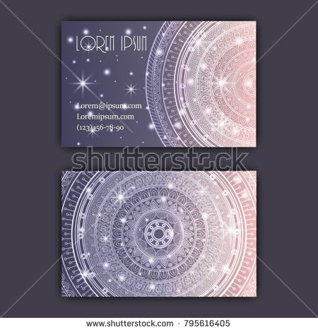 Vector vintage visiting card set. Glowing shiny floral mandala pattern and ornaments. Luxury design